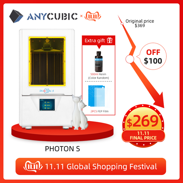 Anycubic Photon S 3d Printer Dual Z as Quick Slice Hoge Precisie Impressora 3d Hars Printer Sla Printer Impresora 3d