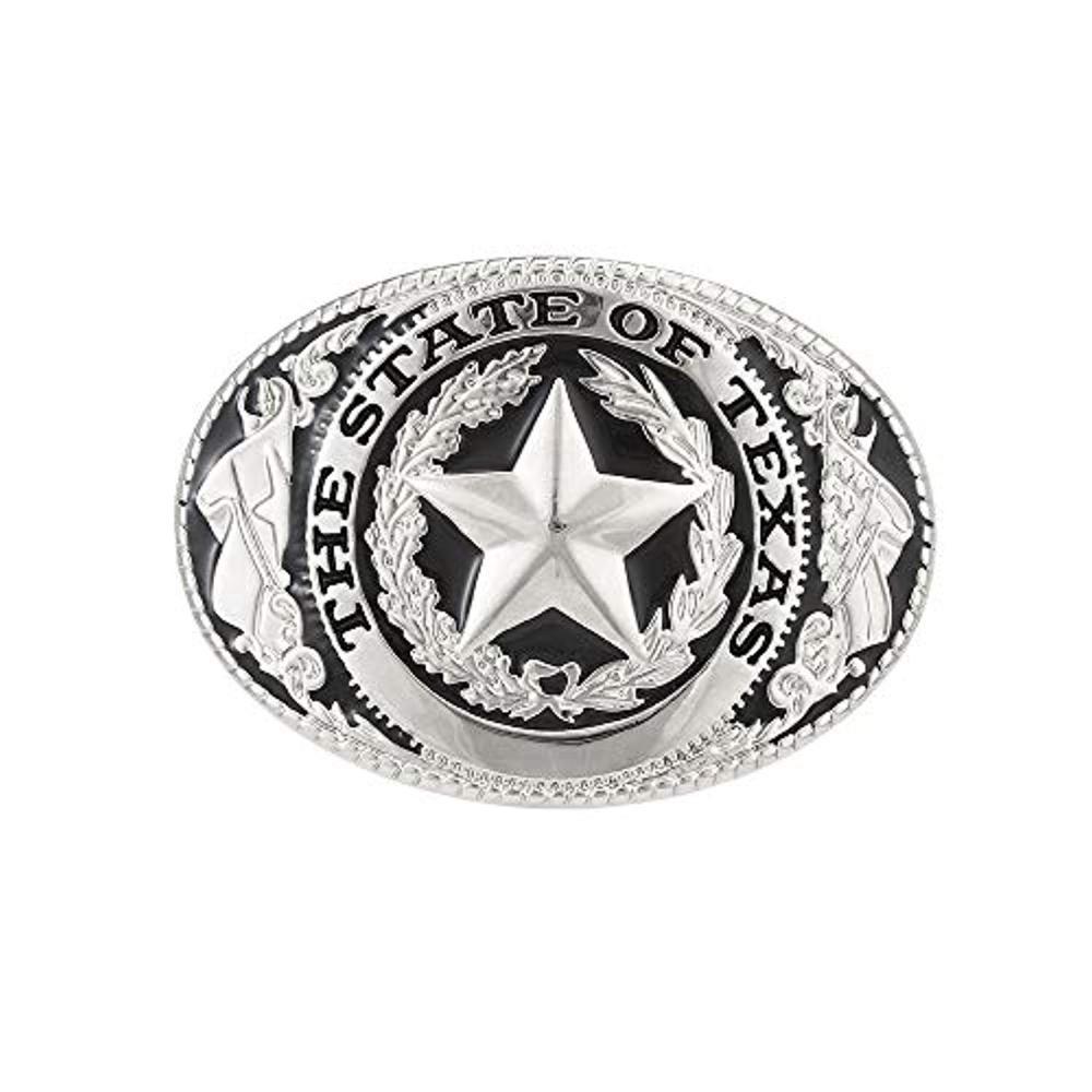 THE STATE OF TEXAS Pentagram Star  Belt  Buckle For Man Western Cowboy Buckle Without Belt Custom Alloy Width 4cm