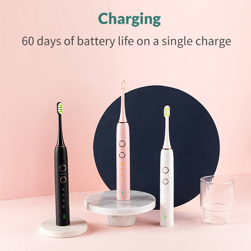 HiPiCok Sonic Electric Toothbrush Waterproof USB Rechargeable Automatic 12 Mode Ultrasonic Electric Tooth Brush Replacement Head