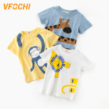 VFOCHI New Arrival Boys T Shirt Cartoon Animal Print Kids T Shirt 2-10Y Teenager Tee Tops Cute Boy Clothes Baby Boy T Shirts цена и фото