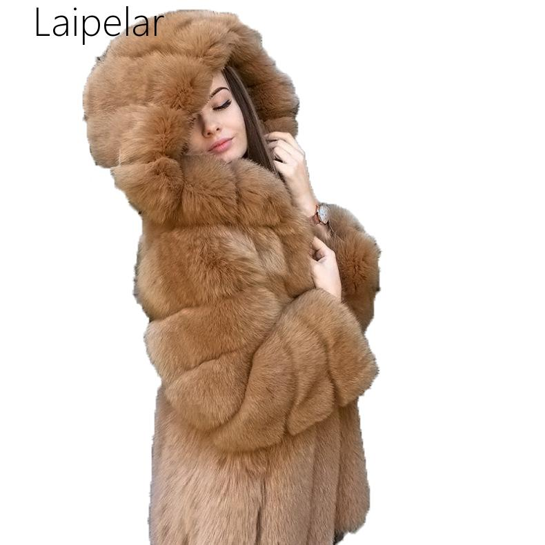Laipelar 2020 New Elegant Faux Fox Fur Women Winter Fashion Medium Long Artifical Fox Fur Woman Warm Fake Fox Fur Coats Female