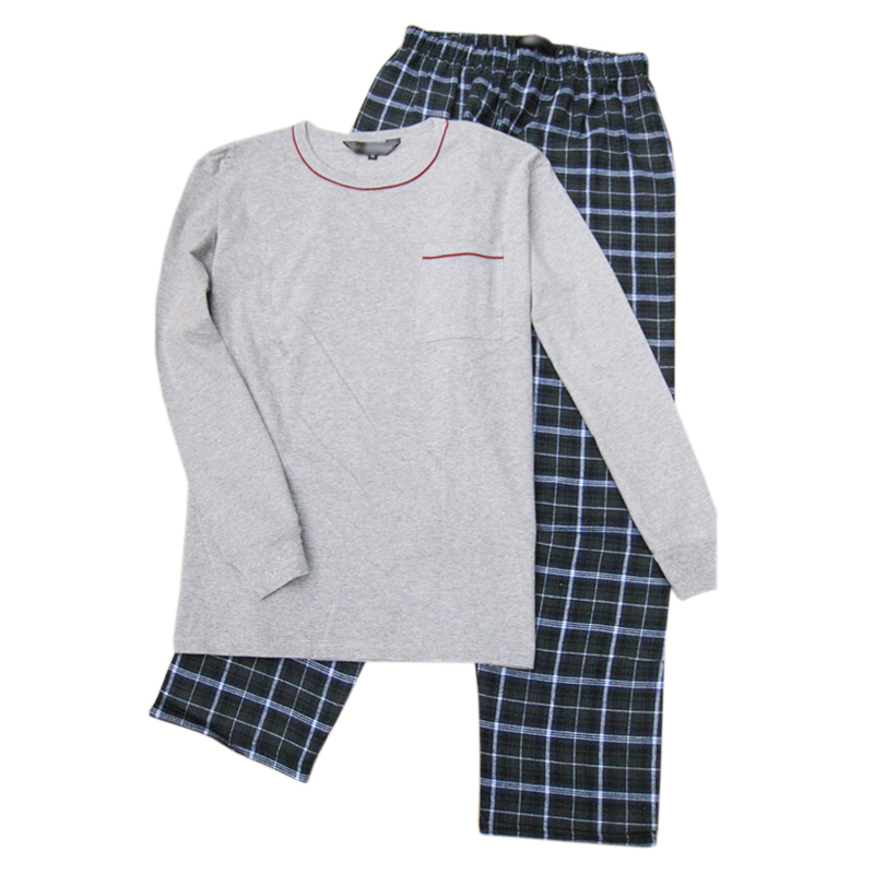 Autumn 100% Cotton Sleepwear Men Simple Long Sleeve Pajamas Sets Casual Plaid Trousers Quality Men Homewear Plus Size XXL 100KG