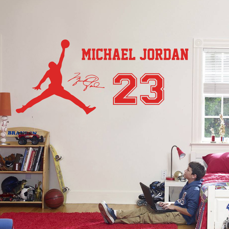 No.23 adesivo de parede decoração para casa decalques vinil nova estrela esporte para crianças avião retrato jordan & vidro