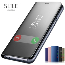 SLILE Mirror Flip Case For Samsung Galaxy A10 A30 A40 A50 A70 A80 M20 M30 J4 Plus J6  S7 edge S8 S9 Plus S10 Note 10 Pro Cover chocolates design glass case for samsung s7 edge s8 s9 s10 plus s10e note 8 9 10 a10 a30 a40 a50 a60 a70