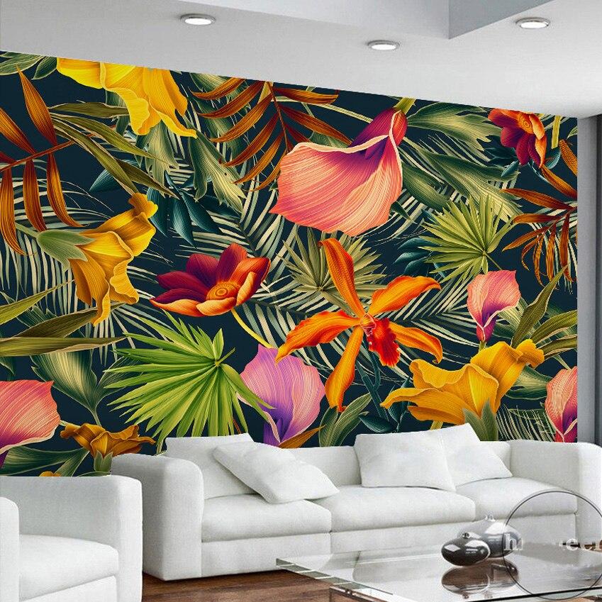 Custom-Wall-Mural-Tropical-Rainforest-Plant-Flowers-Banana-Leaves-Backdrop-Painted-Living-Room-Bedroom-Large-Mural (2)