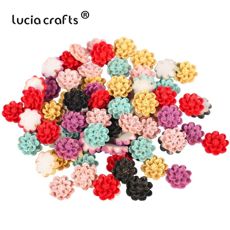 Lucia Handwerk Gelegentliche 50 stücke Flatback Blume Harz Cabochon Kid Scrapbooking Für DIY Handwerk K0835