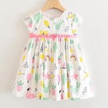 Girls Cartoon Pattern Dresses 2020 New Summer Children Outfits Fashion Sweet Dress Elegant Cute Kid Dress Children Vestidos 3 8Y цена 2017
