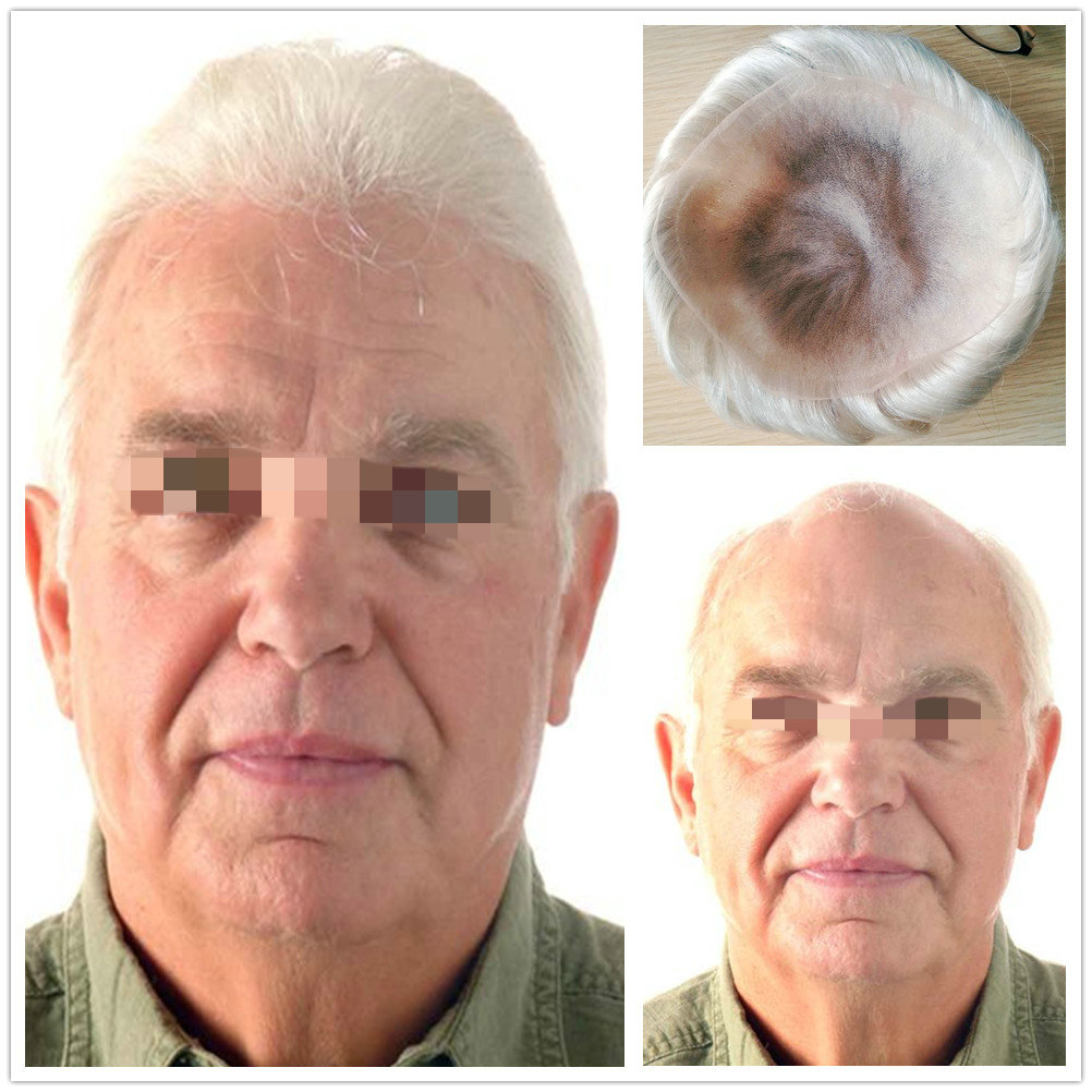 Hstonir Full French Lace Wig Indian Remy Hair Men Toupee Hairpiece System Invisible Knot H074