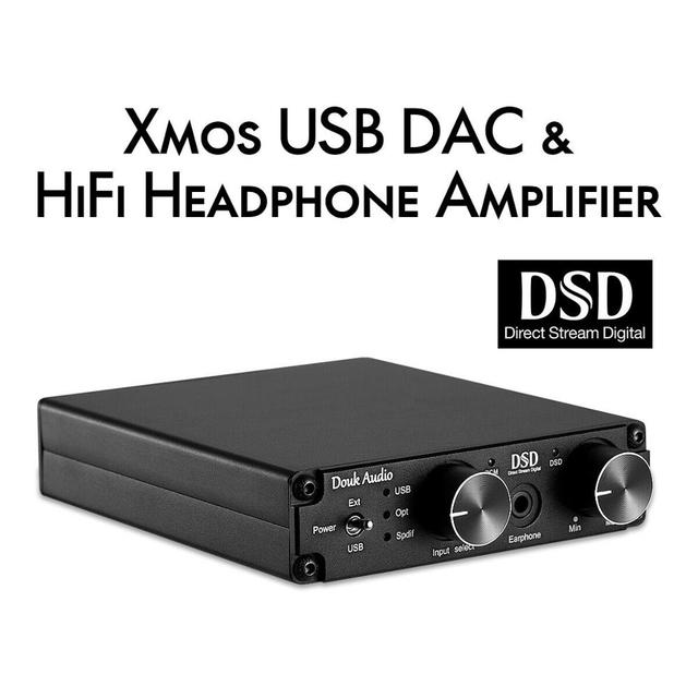 DOUK אודיו מיני XMOS XU208 USB DAC אודיו מפענח DSD256 HiFi אוזניות מגבר ממיר RCA PCM384K/32Bit