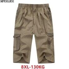 Pantalones cortos cargo de estilo safari para hombre, Shorts masculinos de algodón con bolsillo de talla grande 6XL 7XL 8XL, pantalones cortos de cintura elástica informales color caqui 46