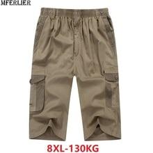 Zomer Mannen Safari Stijl Cargo Shorts Pocket Katoen Plus Size 6XL 7XL 8XL Man Casual Elastische Taille Shorts Stretch kaki 46
