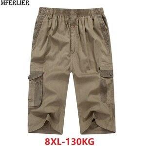Image 1 - Zomer Mannen Safari Stijl Cargo Shorts Pocket Katoen Plus Size 6XL 7XL 8XL Man Casual Elastische Taille Shorts Stretch kaki 46
