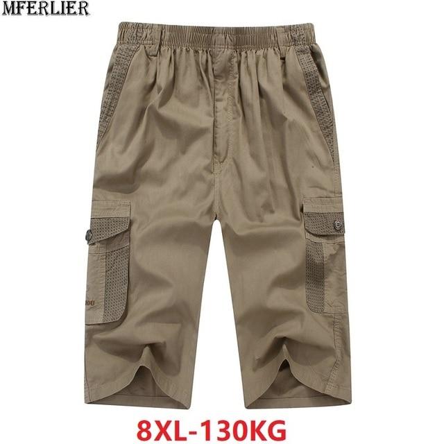 summer mens safari style cargo Shorts pocket cotton plus size 6XL 7XL 8XL man casual Elasticated waist shorts Stretch khaki 46