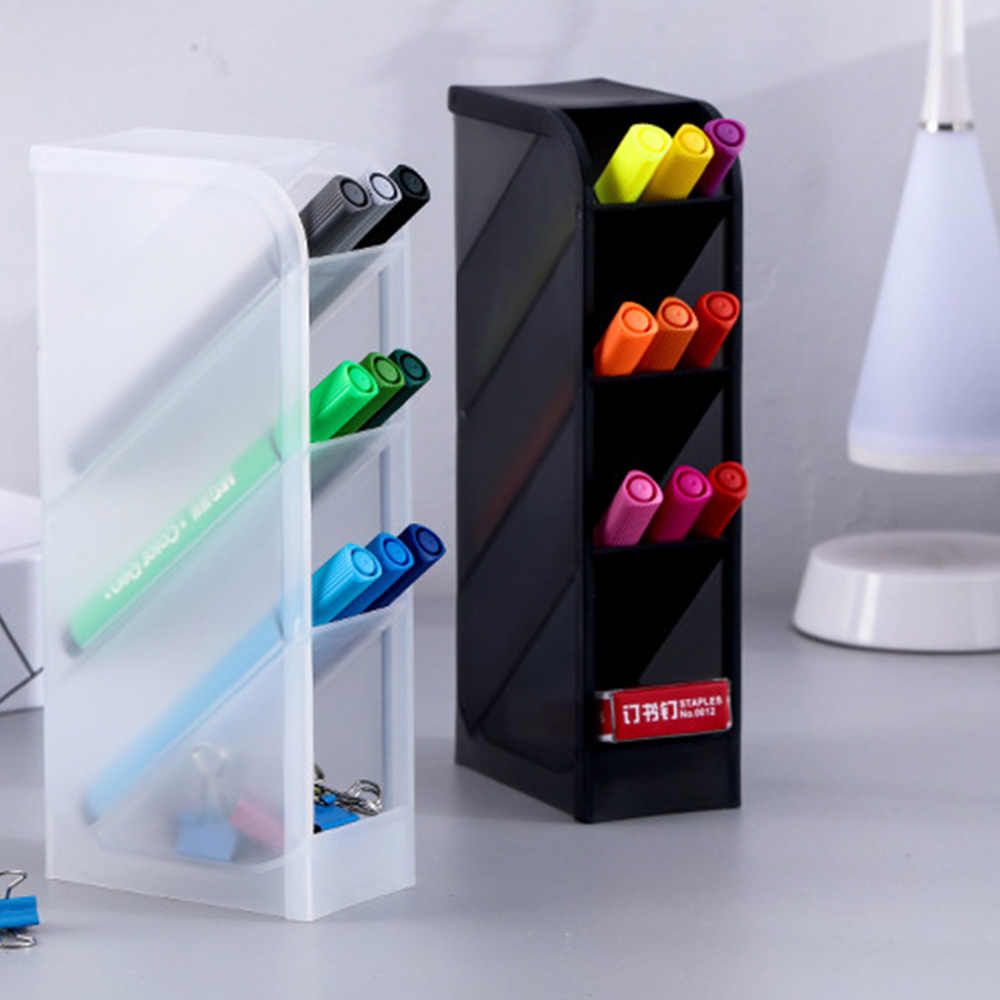 متعددة وظيفة 4 الشبكة حامل قلم مكتبي مكتب المدرسة حقيبة للتخزين كلير وايت الأسود صندوق بلاستيكي مكتب القلم قلم رصاص منظم