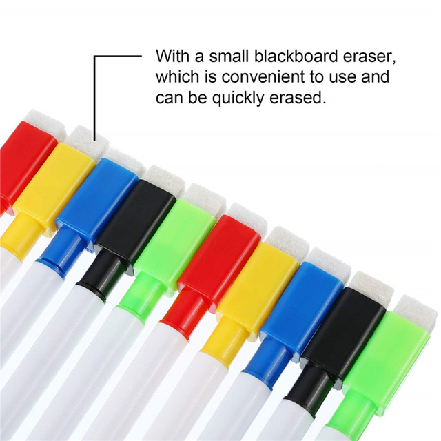 8pcs water-colour brush Whiteboard Marker Pens White Board Dry-Erase Pen with Eraser Magnetic Markers Writing Water Color Pen 3