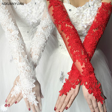 Lace-Gloves Bridal-Flower Gants Mariage Ivory White Long Women's Red for with Wholesale
