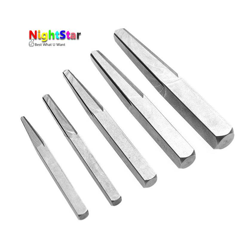 5Pcs Square Screw Extractor Breakage Bolt Extractor Drill Bits Guide Set Easy Out Fastener Kit