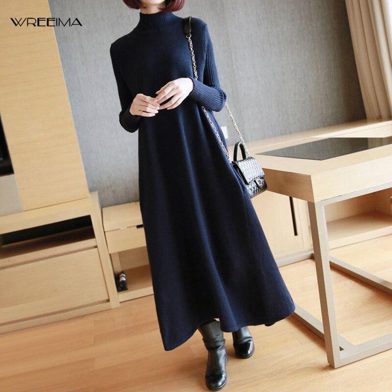 Croweima 2019 mode grande taille col roulé Pullorvers Patchwork manchette conception robe en tricot femme Clthing hiver noir rouge Vestido