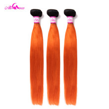 Ali Coco Brazilian Straight Weave Bundles 1B/Orange Color 100% Human Hair Bundles 3 Bundles 10-30 Inch Remy Hair Weave Extension(China)
