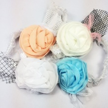 1 Pcs/lot Lovely Girls Chiffon Rosette Flowers Headband Beautiful Mesh Headbands Kids New Arrival Hair Accessories