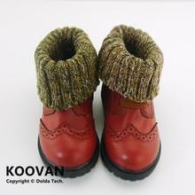 Koovan/детские ботинки; коллекция года; Детские ботильоны с мягкой подошвой; хлопковые теплые ботинки в стиле ретро для мальчиков и девочек; кожаные детские шерстяные ботинки
