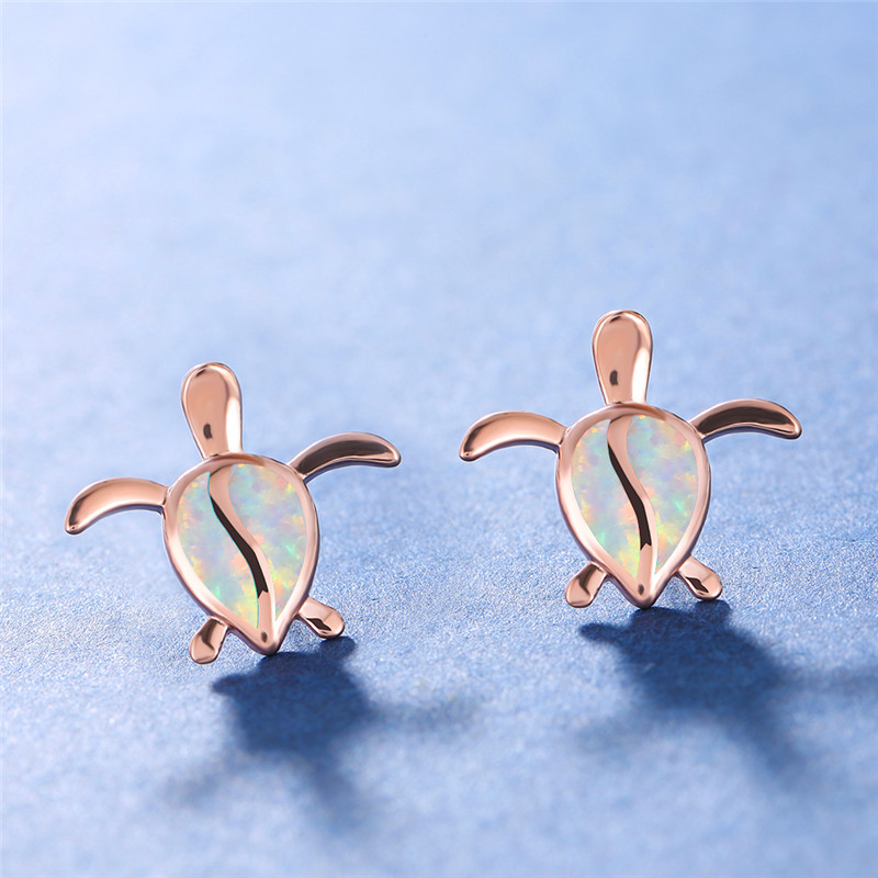 Vintage Female Turtle Small Stud Earrings Classic Rose Gold Silver Color Earrings Dainty White Opal Wedding Earrings For Women