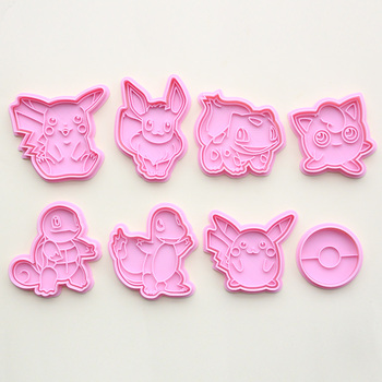Pokemon Pattern Plastic Baking Mold Kitchen Biscuit Cookie Cutter Pastry Plunger 3D Die Fondant Cartoon Cake Decorating Tools 68pcs set sugarcraft cake decorating tools cake plum flower fondant decor plunger cutter cookie pastry mold tools