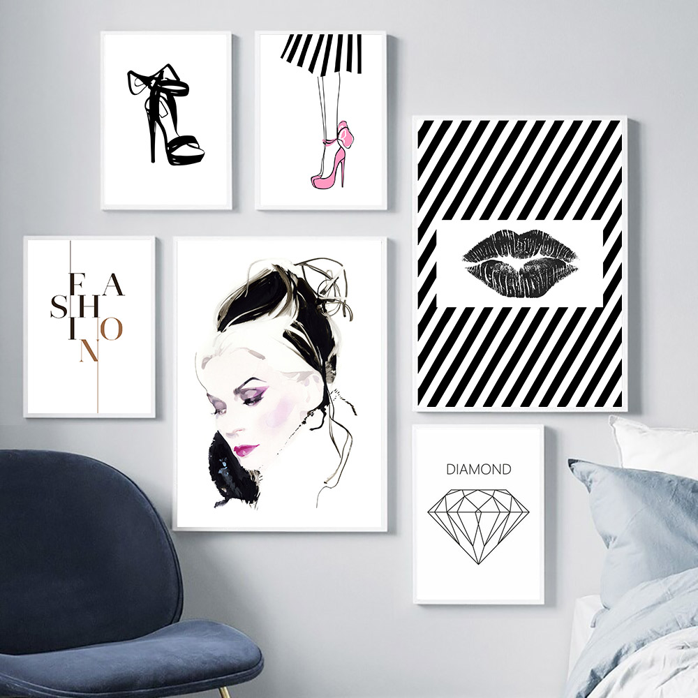 Abstract Wall Canvas Painting Poster Black And White Decorative Pictures Minimalist Fashion Girl Room Decor Home