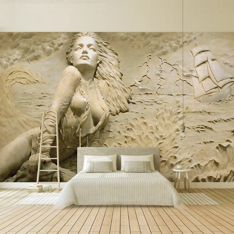 2020 Carta Da Parati European Style golden Wallpaper <font><b>3D</b></font> Stereo Relief Seaside <font><b>Sexy</b></font> Body Art Beauty Background <font><b>Wall</b></font> <font><b>Paper</b></font> mural image