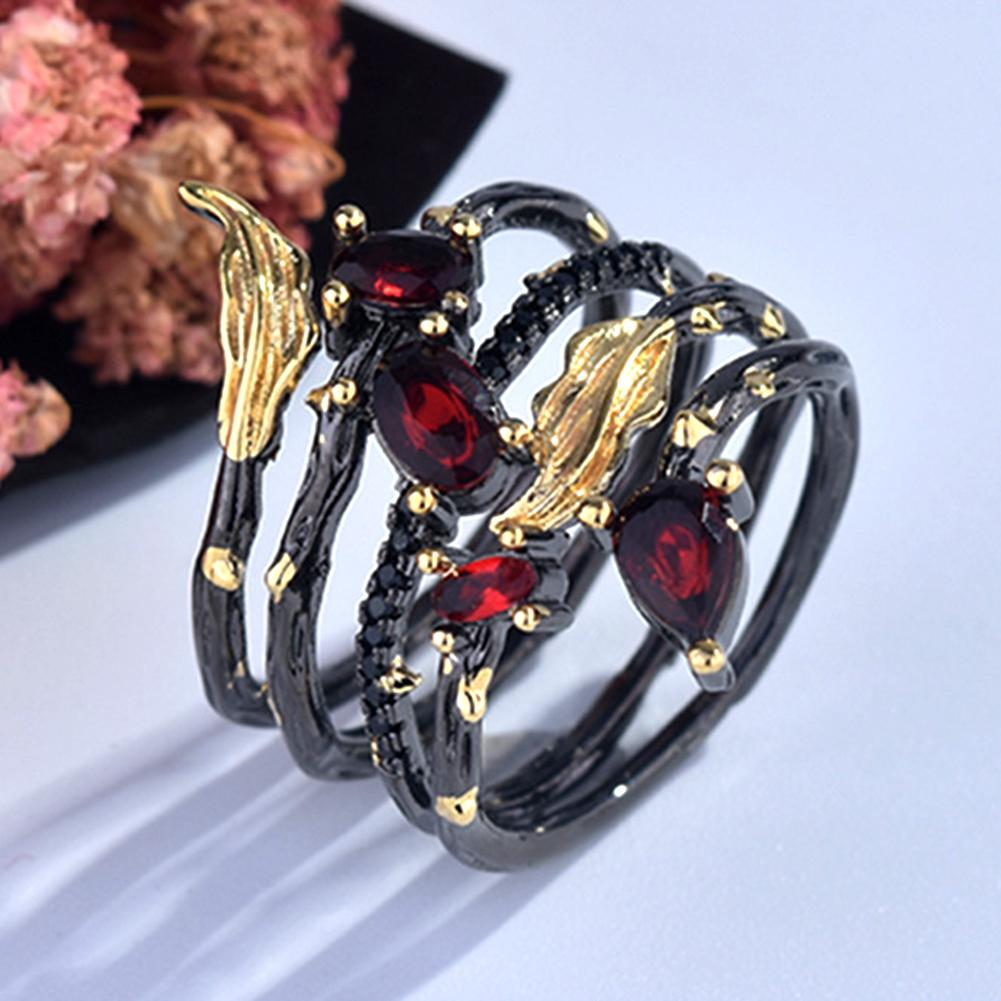 Fashion Leaf Feather Rhinestone Faux Gem Women Finger Ring Party Banquet Jewelry|Engagement Rings|   - AliExpress