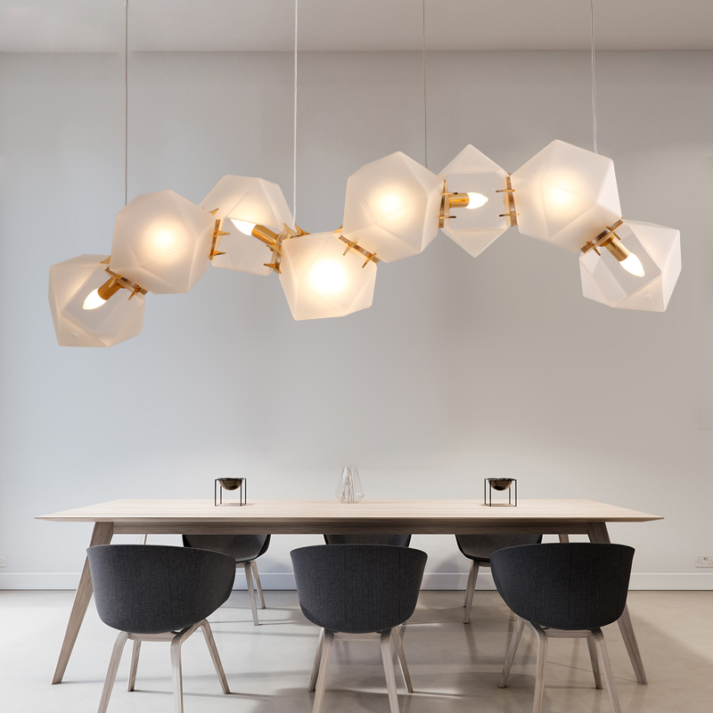 Скандинавский неправильный геометрический стеклянный люстра светильник ing Современный арт деко подвесной светильник для виллы