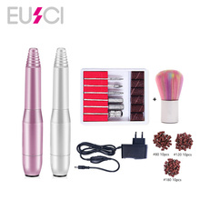 цена на EUSCI Electric Nail Drill Pen Shape File Grinder Portable Easy to Operate Manicure Pedicure Machine Set with Brushes Drill