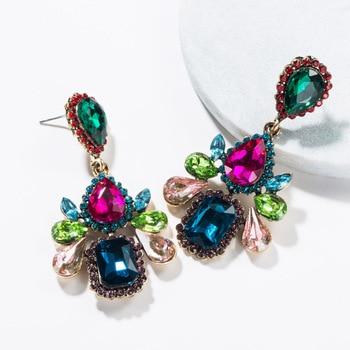 KMVEXO Colorful Crystal Drop Earrings Women Round Geometric Pendant Dangle Earrings Indian Bridal Statement Jewelry Party Bijoux 12