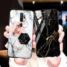 A9 2020 Marmer Tempered Glass Case untuk Oppo A31 A52 A12 A3S A5S A1k A33 A37 A59 A77 A79 A83 a91 F7 F9 F11 Pro Menemukan X2 Phone Case(China)