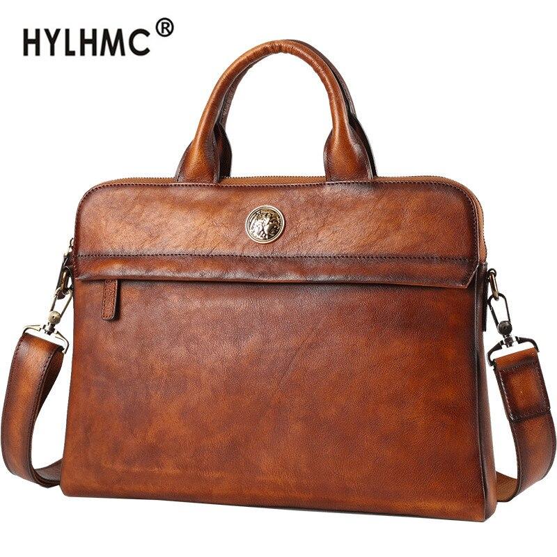 Men's Handbag Leather Men Bags Handbags Genuine Leather Shoulder Messenger Bag Casual Business Briefcase Big Tide Brand Bag Male