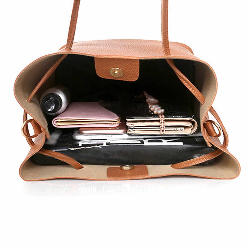 4 pçs bolsa definir padrão de couro do plutônio sacos para as mulheres 2019 feminino cion bolsa pacote de cartão bolsa de ombro bolsa feminina preto rosa