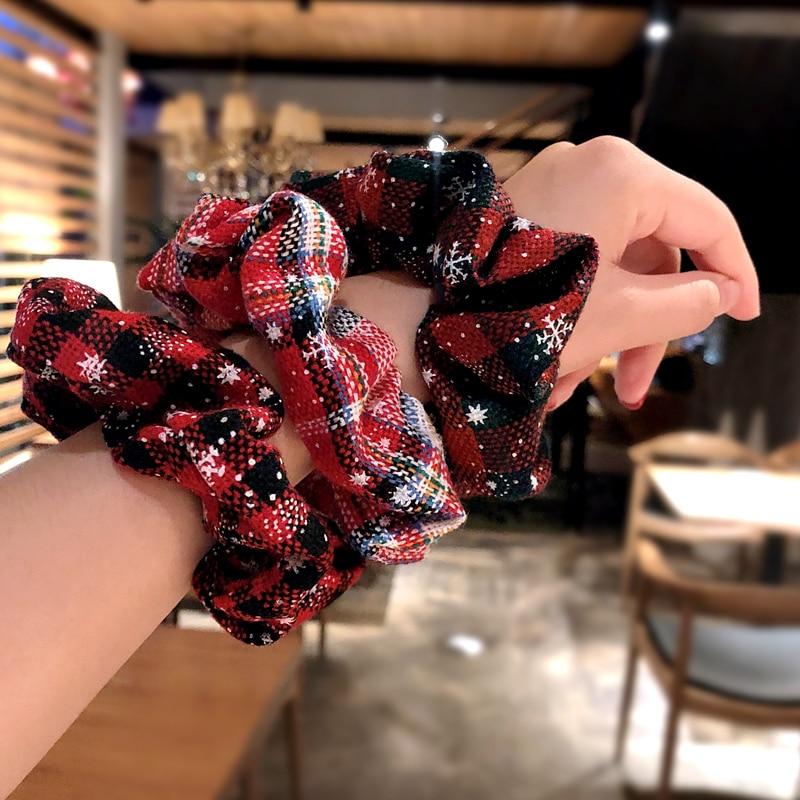 New Fashion Women Girls Christmas Snowflake Red Print Lattice Rubber Band Elastic Hair Band Hair Rope Scrunchie Hair Accessories