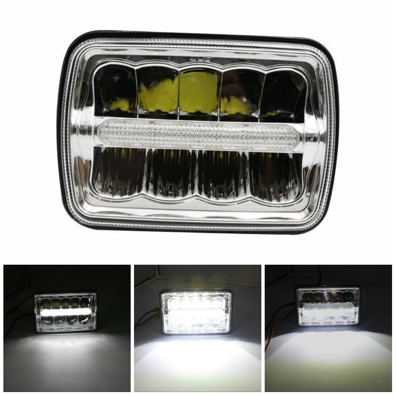 4X6 Inch LED Square Headlights with High/Low Beam DRL Replace HID Xenon for 1979-1993 Ford <font><b>Mustang</b></font> image