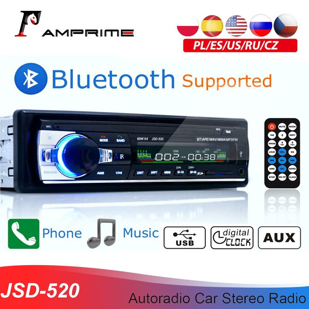 Авторадио AMPrime JSD-520, стерео магнитола для автомобиля с Bluetooth, FM-радио, Aux выходом, SD-картой, USB, автомагнитола 1 din, мультимедийный плеер с MP3, 12 В