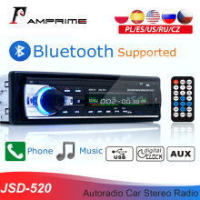 Amprime bluetooth autoradio carro estéreo rádio fm aux entrada receptor sd usb JSD-520 12v in-dash 1 din carro mp3 multimídia player