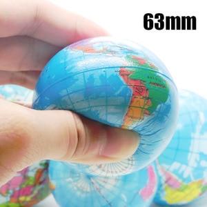 1pc 63mm Earth Ball Toys for Children Foam globe Anti Stress Relief World Map Palm Ball Atlas Globe Planet Teaching Supplies