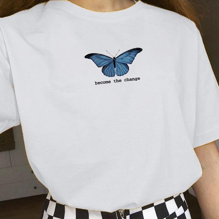 kuakuayu HJN Become The Change Women's Butterfly Print T Shirt ...