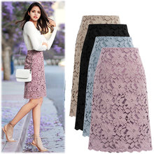 Женская летняя юбка размера плюс элегантная офисная с кружевом