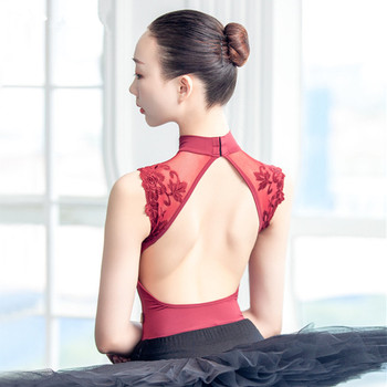 Sexy Dance Leotards One-piece Dance Practice Clothes Women Lace Gymnastics Dancing Costume Adult High Collar Ballet Leotard 1