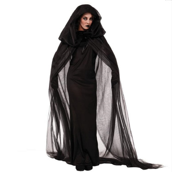 Black Halloween Costume Aduct Cosplay M And XL Size Ghost Bride Dresses With Black Tippet And Glove Halloween Vampire Uniform image