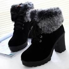 Botas de tornozelo sapatos femininos 2020 saltos quadrados sólidos sapatos de inverno mulher rendas botas de neve senhoras sapatos de pelúcia quente botas de invernoBotas torn.