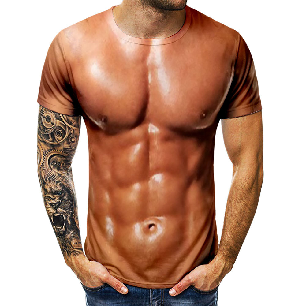 3D T-Shirt Skin Muscle Tee Simulated Chest Bodybuilding Nude Short-Sleeve Men's Casual