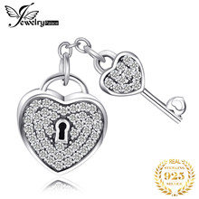 JewelryPalace Heart Key 925 Sterling Silver Beads Charms Silver 925 Original For Bracelet Silver 925 original For Jewelry Making(China)
