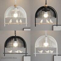 Modern Resin Bird Pendant Light Iron Cage Pendant Lamps Nordic Living Room Bedroom Kitchen Hanging Lamp Light Fixtures Luminaire