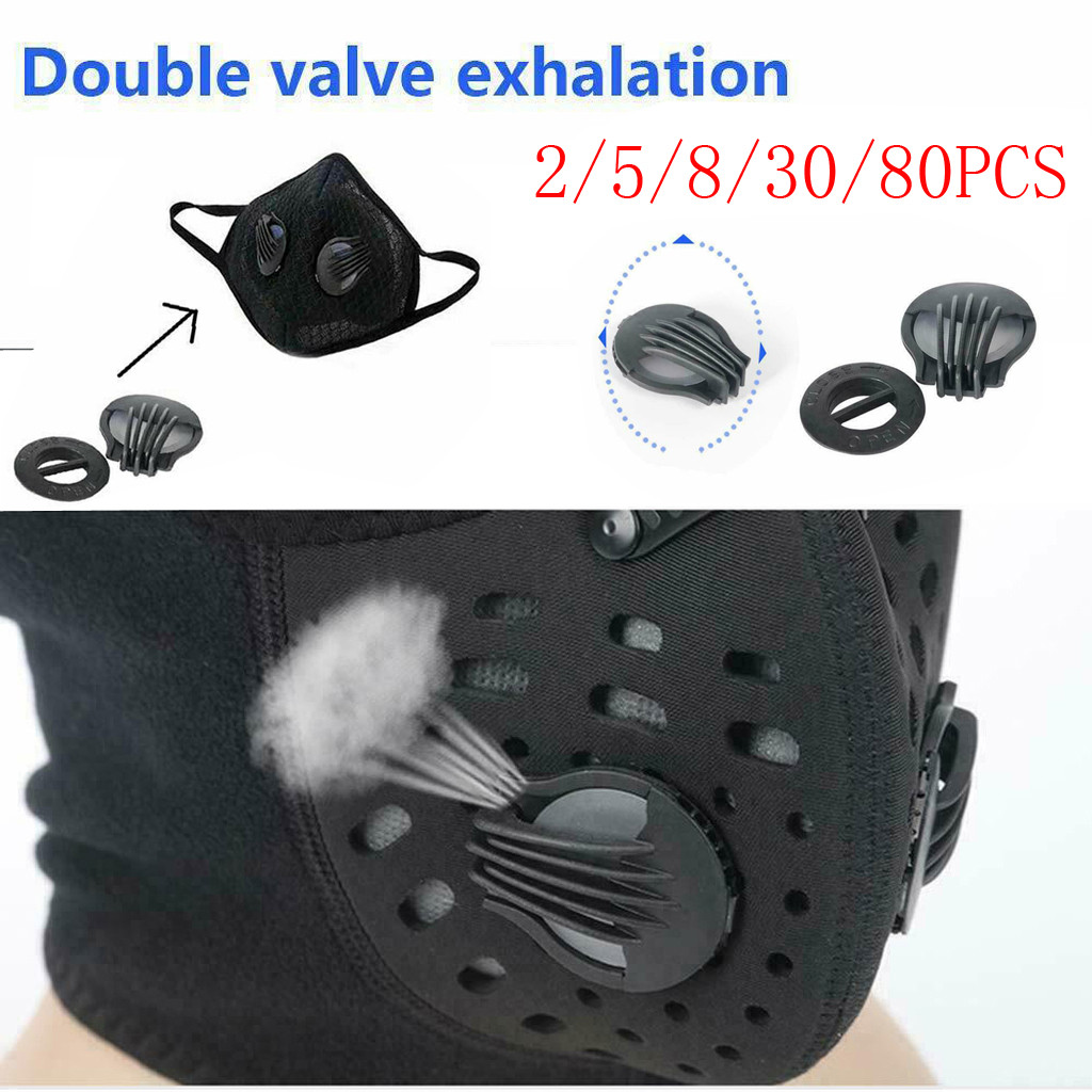 80PC Mask Valves Outdoor Dustproof Anti-fog Face Mouth Double Value Exhalation Filter Breathing Valves Replacements Mascarillas